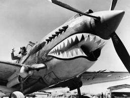 One of the American air forces Flying shark planes with its distinctive marking, piloted by Thomas A. Jones. (Photo by © Hulton-Deutsch Collection/CORBIS/Corbis via Getty Images)