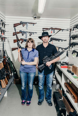 Joy and Frank Goepfert show off their collection at Midwest Tactical Inc.