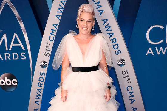 Slide 1 of 29: NASHVILLE, TN - NOVEMBER 08: P!nk attends the 51st annual CMA Awards at the Bridgestone Arena on November 8, 2017 in Nashville, Tennessee. (Photo by Taylor Hill/FilmMagic)