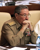 Cuban interim leader and Defence Minister Raul Castro takes part in the Cuba's National Assembly key annual session, 22 December 2006, with no mention whatsoever of ailing Cuban leader Fidel Castro, who did not attend. The absence of Fidel, unseen in public since he underwent surgery in July, spotlights the looming question about the future of Cuba -- the only communist-ruled country in the Americas -- and who will lead it, beyond the Castro brothers. AFP PHOTO/Adalberto ROQUE / AFP / ADALBERTO ROQUE        (Photo credit should read ADALBERTO ROQUE/AFP/Getty Images)