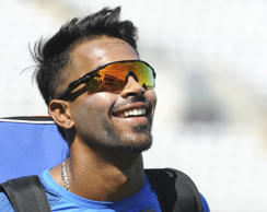 India's Hardik Pandya looks on during a nets practice session ahead of the ICC Champions Trophy semifinal match between Bangladesh and India at Edgbaston in Birmingham, England, Wednesday, June 14, 2017. (AP Photo/Rui Vieira)