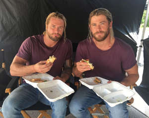 "BULKING UP: Chris Hemsworth's longtime stunt double Bobby Holland Hanton revealed that the most difficult part of being the Australian actor's stand-in is maintaining the same ripped physique. ""Thor is definitely the most difficult character that we have to get in shape for,"" said Hanton. ""Chris is already huge, he's much bigger than me naturally so I have to train twice a day. It's a job in itself."""