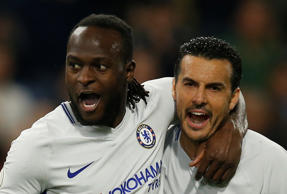 Chelsea's Victor Moses celebrates scoring their second goal with Pedro