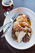 WASHINGTON, DC-December 11: The Roast Chicken with a glass of High Society Beer at Arsenal/Bluejacket, Washington, DC. (Photo by Scott Suchman/For the Washington Post)