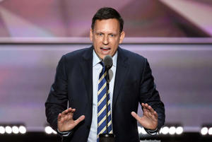 Peter Thiel addresses the 2016 Republican National Convention.