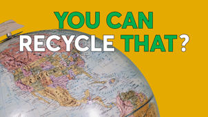 a close up of text on a white background: You Can Recycle That? 5 Items For Earth Day