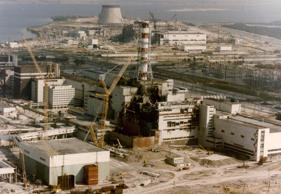 CHERNOBYL, UKRAINE- APRIL 29: View of the Chernobyl Nuclear power plant three days after the explosion on April 29, 1986 in Chernobyl:,Ukraine. (Photo by SHONE/GAMMA/Gamma-Rapho via Getty Images)
