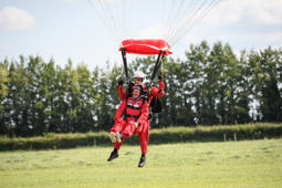 SALISBURY, ENGLAND - AUGUST 10:  Chelsea Pensioner Mike Smith comes into land after completing his 100th skydive, at the Old Sarum airfield on August 10, 2017 in Salisbury, England. Earlier in the day, two former paratroopers, both aged 91, also completed succesful skydives.  (Photo by Leon Neal/Getty Images)