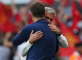 Soccer Football -  FA Cup Semi-Final - Manchester United v Tottenham Hotspur  - Wembley Stadium, London, Britain - April 21, 2018   Manchester United manager Jose Mourinho embraces Tottenham manager Mauricio Pochettino at the end of the match    REUTERS/Hannah McKay
