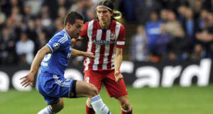 Filipe Luis takes on César Azpilicueta during Wednesday's Champions League clash.