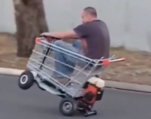 Man creates a motorised shopping cart