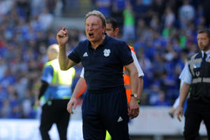 CARDIFF, WALES - MAY 06:  Cardiff City manager Neil Warnock shouts at the fans who invaded the pitch before the final whistle during the Sky Bet Championship match between Cardiff City and Reading at Cardiff City Stadium on May 6, 2018 in Cardiff, Wales. (Photo by Ian Cook - CameraSport via Getty Images)