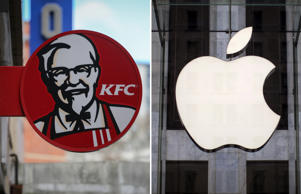 BRISTOL, ENGLAND - FEBRUARY 20:  The KFC logo is pictured outside a branch of KFC that is closed due to problems with the delivery of chicken on February 20, 2018 in Bristol, England. KFC has been forced to close hundred of its outlets as a shortage of chicken, due to a failure at the company's new delivery firm DHL, has disrupted the fast-food giant's UK operation and is thought to be costing the fast food chain £1million a day.  (Photo by Matt Cardy/Getty Images); FILE PHOTO - An Apple logo hangs above the entrance to the Apple store on 5th Avenue in the Manhattan borough of New York City, July 21, 2015. REUTERS/Mike Segar/File Photo - RC1B3C1AE920