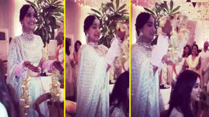 a group of people posing for the camera: Sonam Kapoor Wedding: Sonam having fun with Jhanvi Kapoor during her Kaliren Ritual; Watch FilmiBeat
