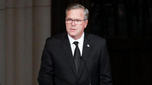Jeb Bush wearing a suit and tie: Jeb Bush: Barbara Bush was 'the best role model in the world'
