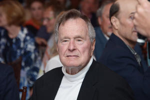 "KENNEBUNKPORT, ME - JUNE 12:  Film Subject President George H.W. Bush celebrates his 88th  birthday following the HBO Documentary special screening of ""41"" on June 12, 2012 in Kennebunkport, Maine.  (Photo by Michael Loccisano/Getty Images for HBO)"