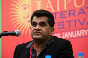 JAIPUR, INDIA - JANUARY 24: Amitabh Kant in a discussion on 'Brand India' at a post lunch session on the 4th day of the DSC Jaipur Literature Festival on Monday. (Photo by Kaushik Roy/India Today Group/Getty Images)