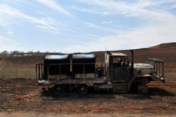 A firetruck that was destroyed by the Rhea fire is seen near Taloga, Oklahoma, U.S. April 17, 2018