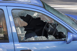 'A jagged black hole with cracked and crazed glass reveals the workings of a thief in the night, during the morning after. One more car crime on the streets of London.More smashed windows / broken glass:'
