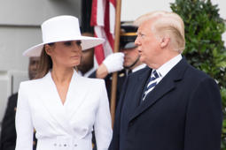 US President Donald Trump and First Lady Melania Trump wait for French President Emmanuel Macron and Brigitte Macron at a state welcome at the White House in Washington, DC, on April 24, 2018. (Photo by JIM WATSON / AFP)        (Photo credit should read JIM WATSON/AFP/Getty Images)
