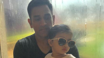 Cricketer MS Dhoni with daughter Ziva