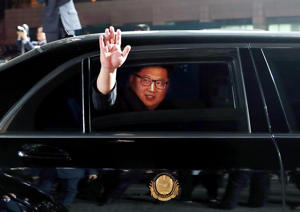 North Korean leader Kim Jong Un (inside a vehicle) bids farewell to South Korean President Moon Jae-in as he leaves after a farewell ceremony at the truce village of Panmunjom inside the demilitarized zone separating the two Koreas, South Korea, April 27, 2018.   Korea Summit Press Pool/Pool via Reuters     TPX IMAGES OF THE DAY