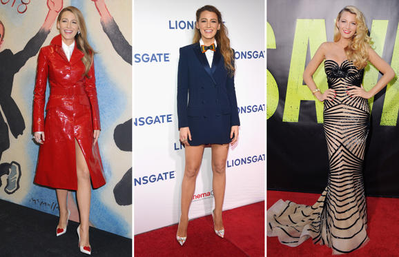 Slide 1 of 64: Michael Kors show, Fall Winter 2018, New York Fashion Week, USA - 14 Feb 2018; CAPTION: LAS VEGAS, NV - APRIL 26: Actor Blake Lively attends CinemaCon 2018 Lionsgate Invites You to An Exclusive Presentation Highlighting Its 2018 Summer and Beyond at The Colosseum at Caesars Palace during CinemaCon, the official convention of the National Association of Theatre Owners, on April 26, 2018 in Las Vegas, Nevada. (Photo by Ethan Miller/Getty Images for CinemaCon); WESTWOOD, CA - JUNE 25: Actress Blake Lively arrives at the Los Angeles Premiere 'Savages' at Mann Village Theatre on June 25, 2012 in Westwood, California. (Photo by Jon Kopaloff/FilmMagic)