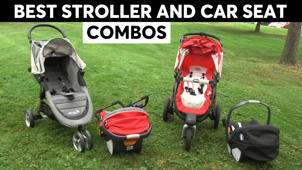 a red motorcycle parked in a grassy area: Best Stroller and Car Seat Combos