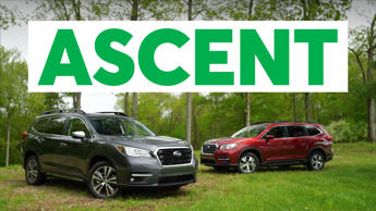 a car parked in front of a sign: 2019 Subaru Ascent Quick Drive