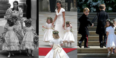 Per royal tradition, Meghan Markle's ceremony showcased an adorable royal wedding party including six little bridesmaids and four page boys, which included both Prince George and Princess Charlotte. Decades before Meghan and Harry's wedding, Princess Diana's marriage ceremony, where she wed Prince Charles also included young bridesmaids, who were the daughters of important royal friends. Kate Middleton's bridal party was slightly less traditional than Diana's or Meghan's, because the Duchess of Cambridge included her sister, Pippa Middleton, as maid of honor.