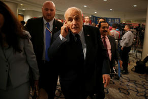 Former New York Mayor Rudy Giuliani walks after speaking at the 2018 Iran Freedom Convention in Washington, U.S., May 5, 2018.