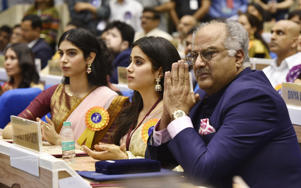 Late Sridevi's husband Boney Kapoor and daughters Janhvi Kapoor and Khushi Kapoor seen during the 65th National Film Awards, at Vigyan Bhawan, on May 3.