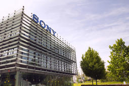Prague, Czech republic - May 22, 2017: Sony company logo on headquarters building on May 17, 2017 in Prague, Czech republic. Sony chief executive outlines long-term profit strategy after closing in on its highest profit in two decades.
