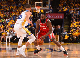 OAKLAND, CA - MAY 20: Stephen Curry #30 of the Golden State Warriors defends James Harden #13 of the Houston Rockets in Game Three of the Western Conference Finals of the 2018 NBA Playoffs on May 20, 2018 at ORACLE Arena in Oakland, California.