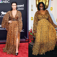 Purrfectly patterned! Lovato wore a long-sleeve cheetah print gown by Dior to the Billboard Music Awards in May 2018. The dress was nearly identical to Goldberg's who wore her Dior gown to the 81st Academy Awards in February 2009. The only difference between the two? Lovato's gown was cinched at the waist with a matching belt and featured a thigh-high slit.