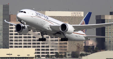 A Boeing 787 Dreamliner operated by United Airlines takes off at Los Angeles International Airport (LAX)