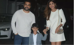 Shilpa Shetty, Raj Kundra and Viaan pictured in Mumbai