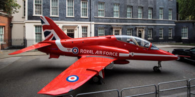 Replica Red Arrows jet lands outside No 10 to mark RAF centenary