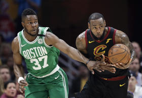 Cleveland Cavaliers' LeBron James (23) steals the ball against Boston Celtics' Semi Ojeleye (37) in the first half of Game 4 of the NBA basketball Eastern Conference finals, Monday, May 21, 2018, in Cleveland. (AP Photo/Tony Dejak)