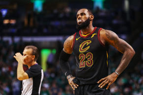 BOSTON, MA - MAY 23:  LeBron James #23 of the Cleveland Cavaliers reacts in the second half against the Boston Celtics during Game Five of the 2018 NBA Eastern Conference Finals at TD Garden on May 23, 2018 in Boston, Massachusetts. NOTE TO USER: User expressly acknowledges and agrees that, by downloading and or using this photograph, User is consenting to the terms and conditions of the Getty Images License Agreement.  (Photo by Maddie Meyer/Getty Images)