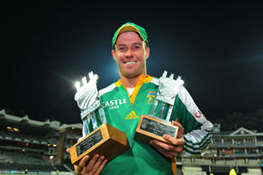 JOHANNESBURG, SOUTH AFRICA - JANUARY 22:  AB de Villiers of South Africa pose with the Series trophy and Man of the Series trophy after the 5th ODI match between South Africa and Sri Lanka from Bidvest Wanderers Stadium on January 22, 2012 in Johannesburg, South Africa.