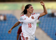 AMMAN, JORDAN - OCTOBER 21:  Eva Navarro of Spain celebrates after scoring her team's first goal during the FIFA U-17 Women's World Cup Third Place Play Off match between Venezuela and Spain at Amman International Stadium on October 21, 2016 in Amman, Jordan.  (Photo by Boris Streubel - FIFA/FIFA via Getty Images)