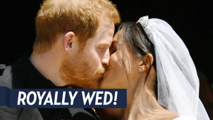 a close up of a person: Prince Harry, Duchess Meghan Were 'Exhausted' in This Wedding Photo