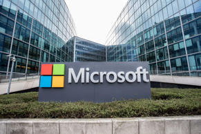CAPTION: ISSY-LES-MOULINEAUX, FRANCE - MARCH 06: Microsoft logo on the Microsoft France campus, which inaugurates the IA Microsoft School, on March 6, 2018 in Issy-les-Moulineaux, France. The American IT multinational opens its artificial intelligence school in partnership with start-up Simplon.co, and welcomes its first promotion of 24 people aged 19 to 39. (Photo by Christophe Morin/IP3/Getty Images)
