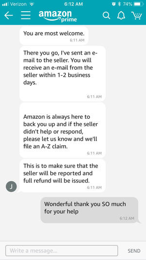 screenshot of customer and Amazon customer service rep chatting