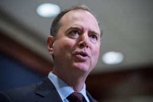 Rep. Adam Schiff, D-Calif., addresses the media before a briefing on election security with House members in the Capitol Visitor Center on May 22, 2018.