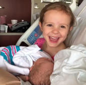 Little girl is shocked to hear her new baby sister was 'born naked'