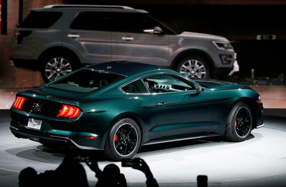 a car parked on the side of a road: The 2019 limited edition Mustang Bullitt, inspired by the movie of the same name, sells for $47,495.