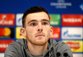 Andrew Robertson of Liverpool talking to the press prior to the UEFA Champions League quater final 1st leg at Anfield on April 3, 2018 in Liverpool, England.  (