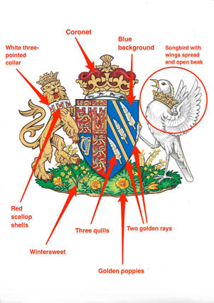 a close up of a map: meghan markle crest symbolism